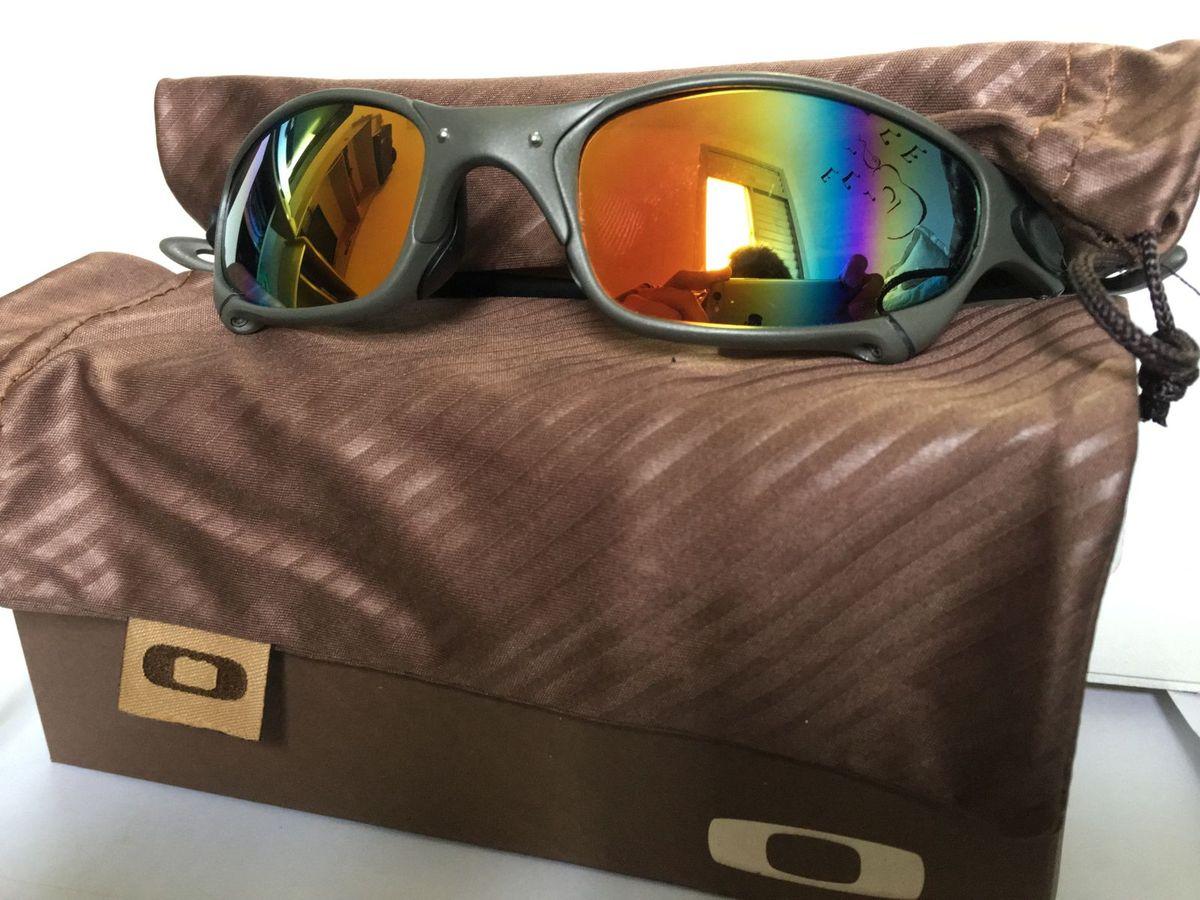 óculos oakley juliet xmetal - lentes arco-iris polarized - óculos oakley 667feffb90
