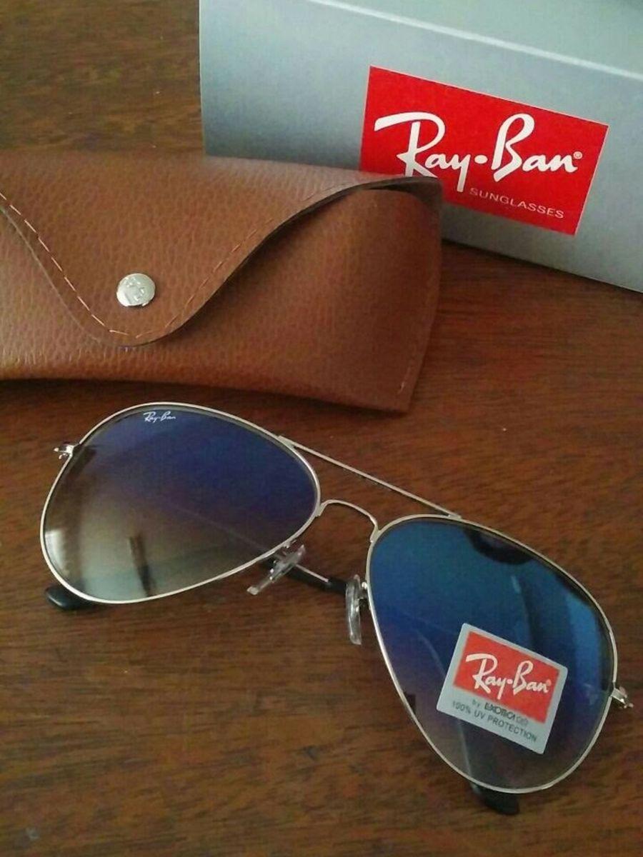 2b3ab1d98 óculos ray ban aviador azul degrade unisex com armação prata - óculos ray- ban