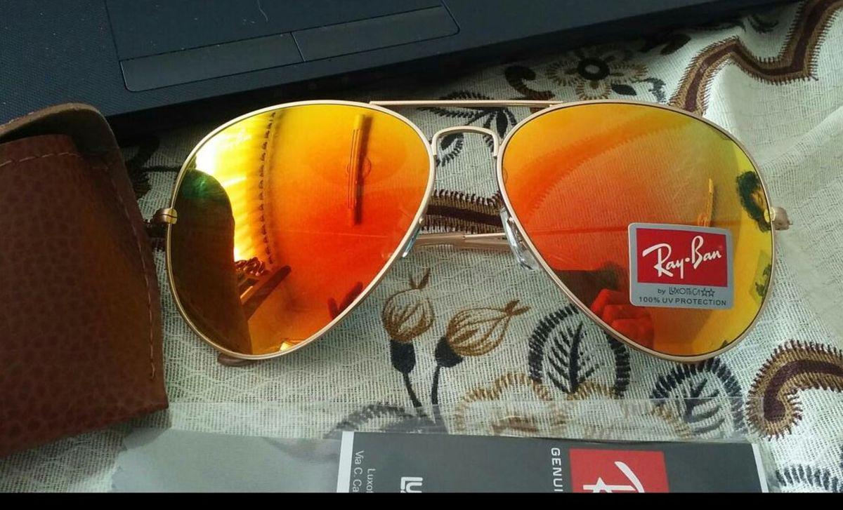 7c1283864 Óculos Ray Ban Aviador Laranja Espelhado | Óculos Feminino Ray Ban ...
