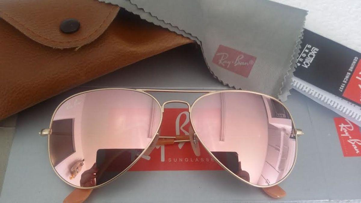 be65152850a37 oculos ray ban aviador rb3026 rosa espelhado original importado - óculos  ray ban