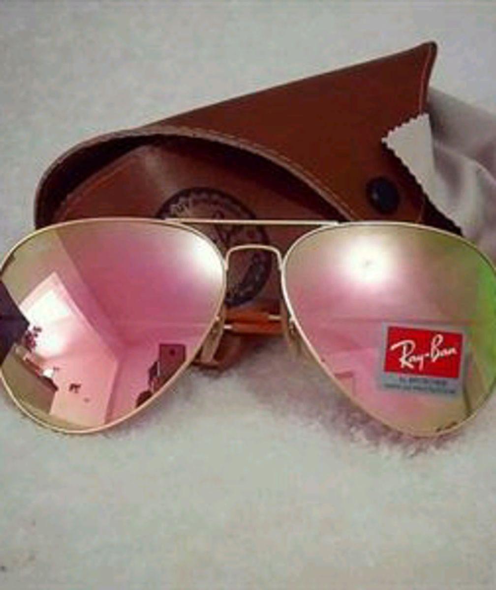9f7308ef15 óculos ray ban aviador rosa rose lente de cristal + acessórios - óculos ray  ban