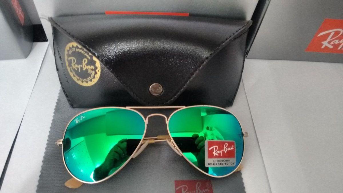 d0a4ba46a7e18 óculos ray ban aviador verde espelhado - óculos ray ban