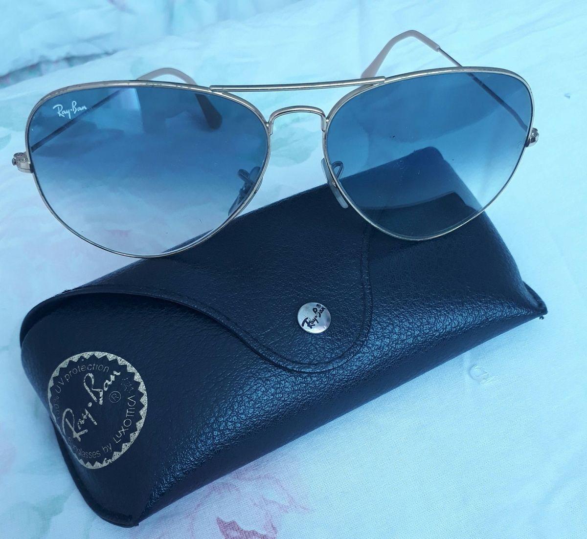 Oculos Ray Ban Aviator Azul Desgradê   Óculos Feminino Ray Ban Usado ... 443e744012