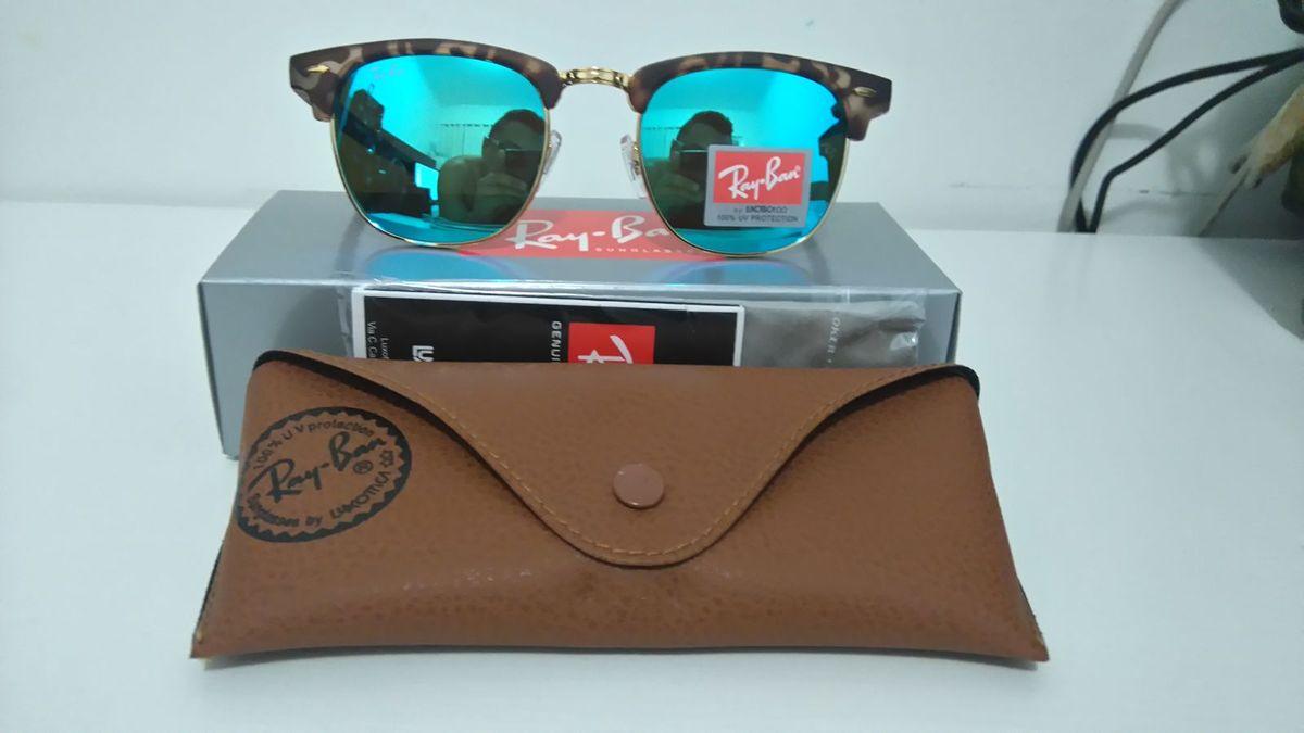 960b0281f oculos ray ban clubmaster rb3016 espelhado - azul tartaruga frete grátis - óculos  ray ban