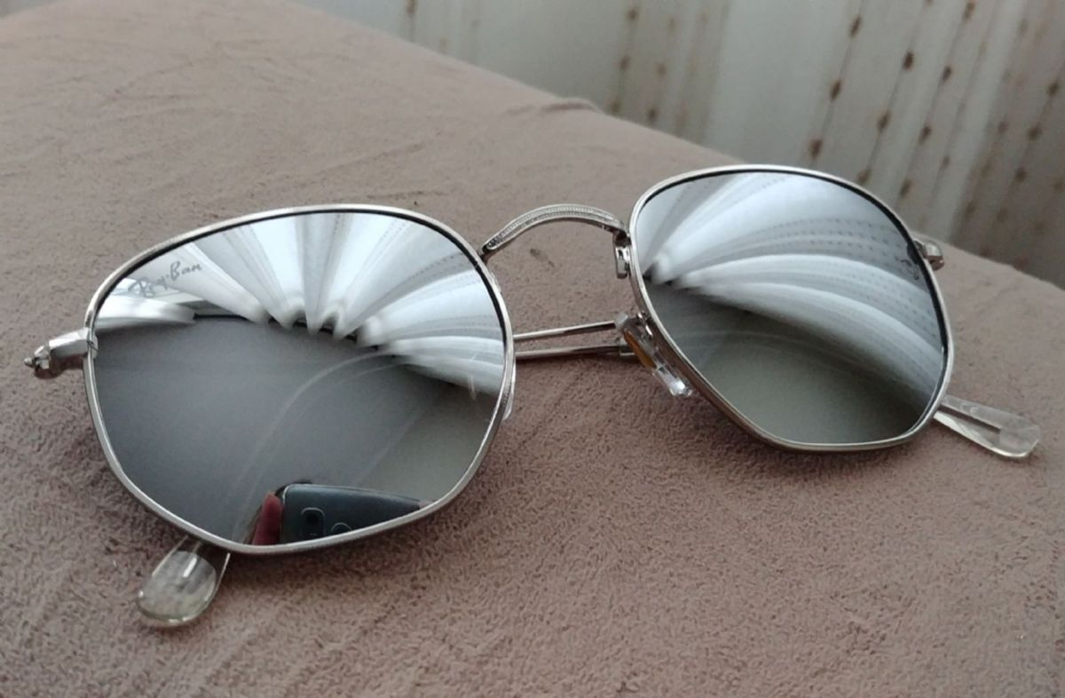 óculos ray ban hexagonal espelhado prata feminino masculino - óculos ray-ban 686cb71ea3