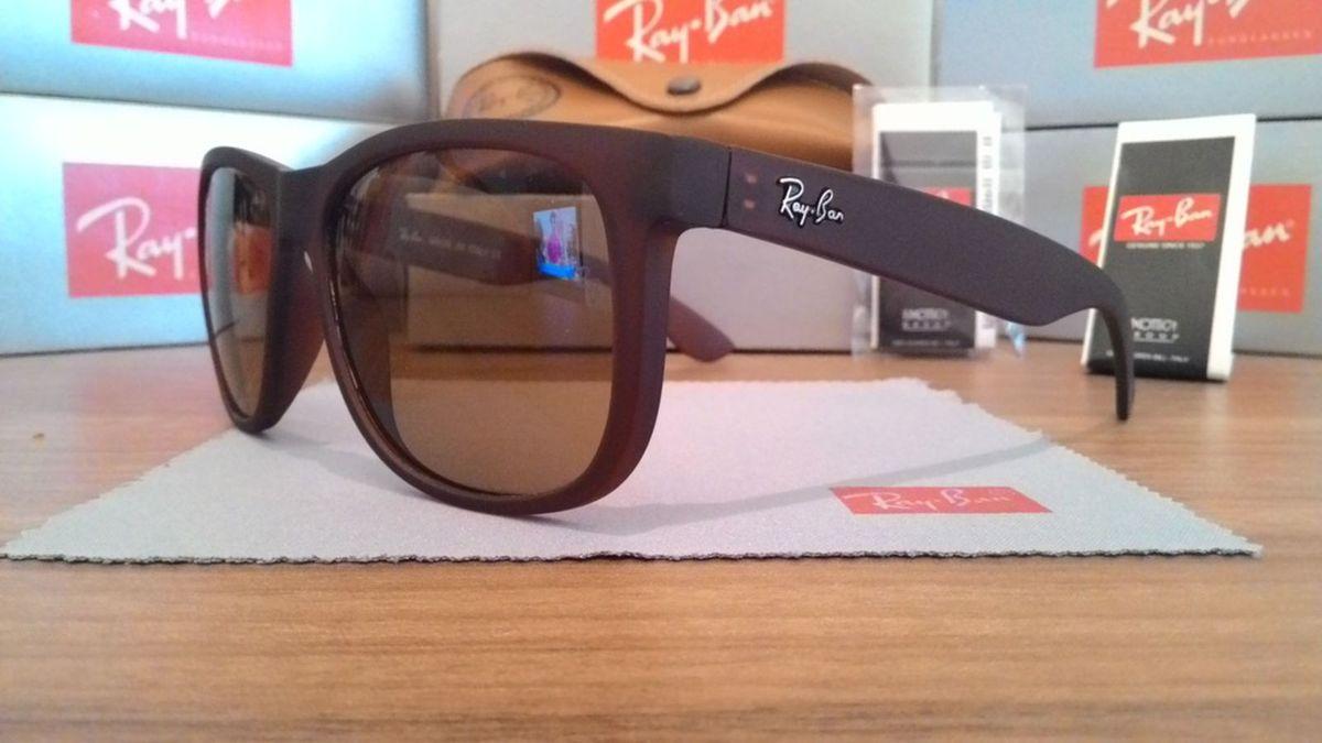 07787706e2117 óculos ray ban justin rb4165 marrom fosco masculino e feminino - óculos ray- ban