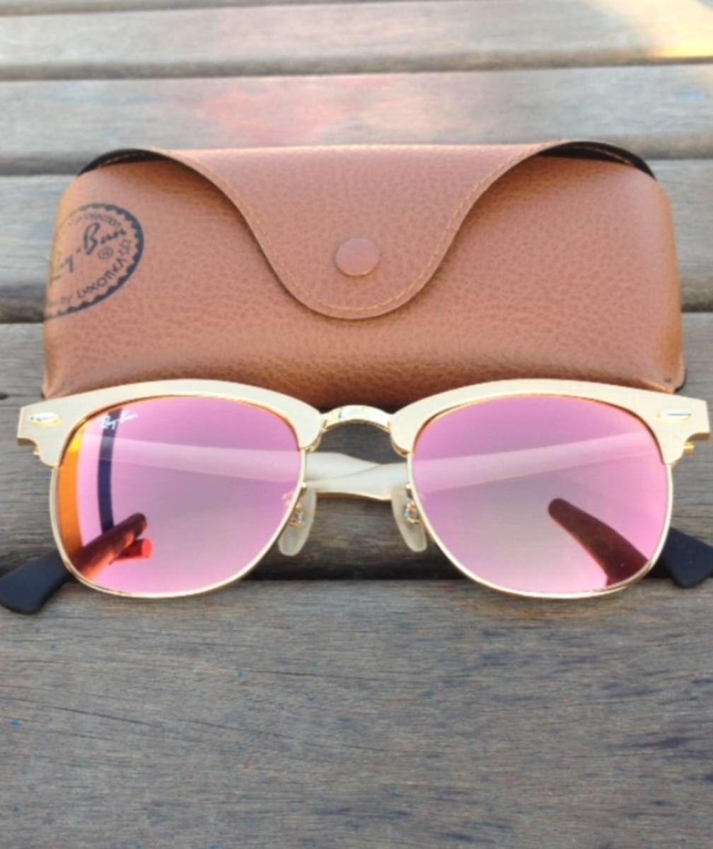 eb5cf1a7f32d9 óculos ray-ban rb3507 clubmaster aluminio dourado rosa espelhado - óculos  ray-ban