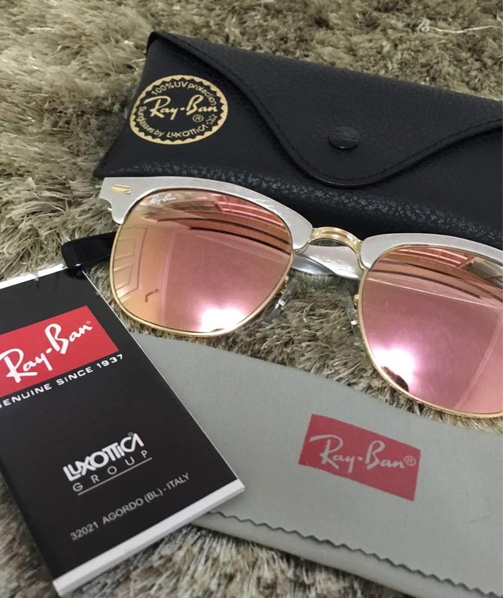 56fae7ff2fc51 óculos ray-ban rb3507 clubmaster aluminium prata rosa espelhado - óculos ray -ban