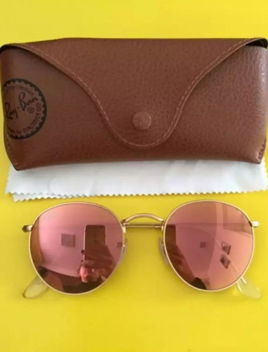 óculos ray ban redondo dourado espelhado round rb3447 metal original - óculos  ray ban 3d4fe4bdc4