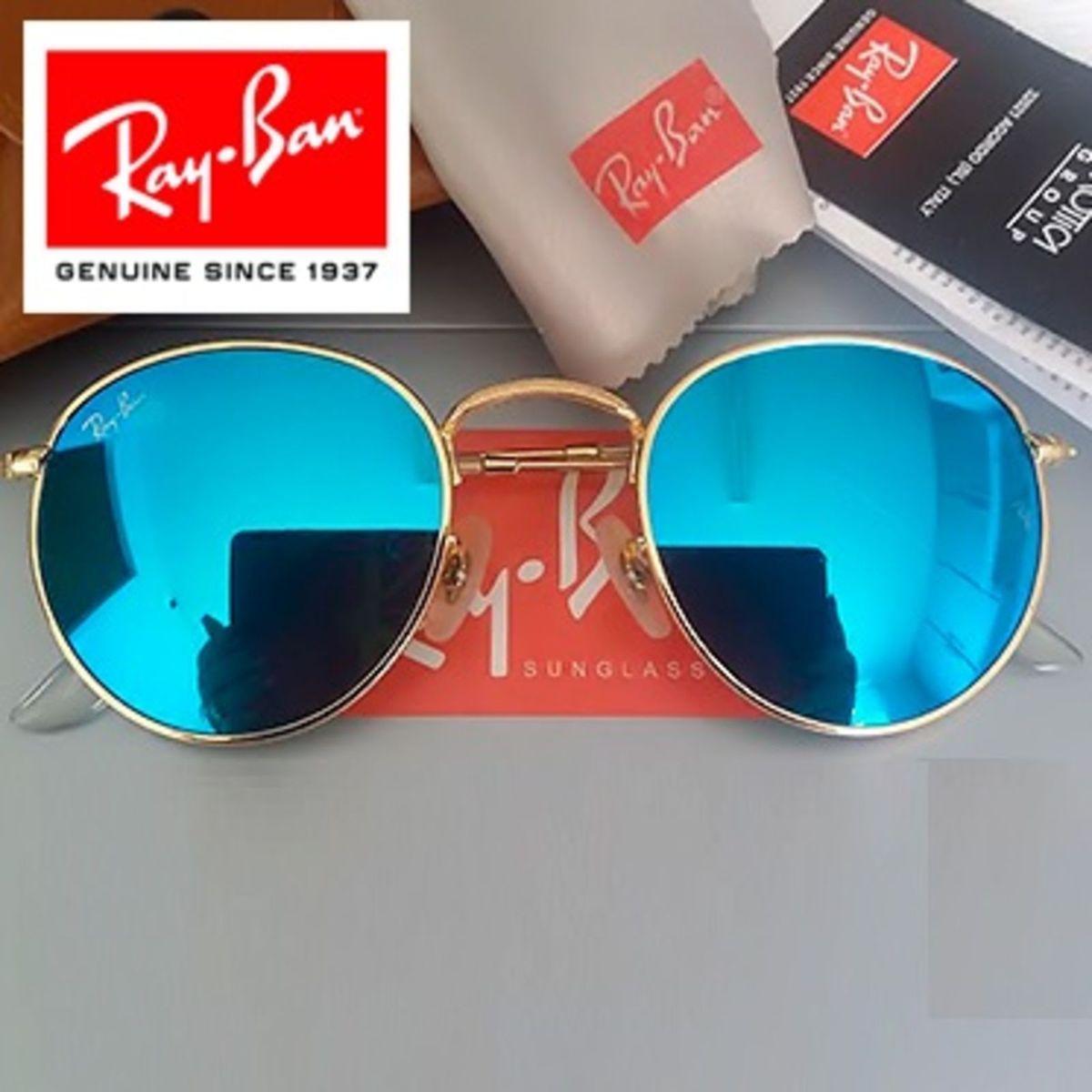 b3291a131 Oculos Ray Ban Round Rb3447 Azul Espelhado Original Importado | Óculos  Feminino Ray Ban Nunca Usado 14482200 | enjoei