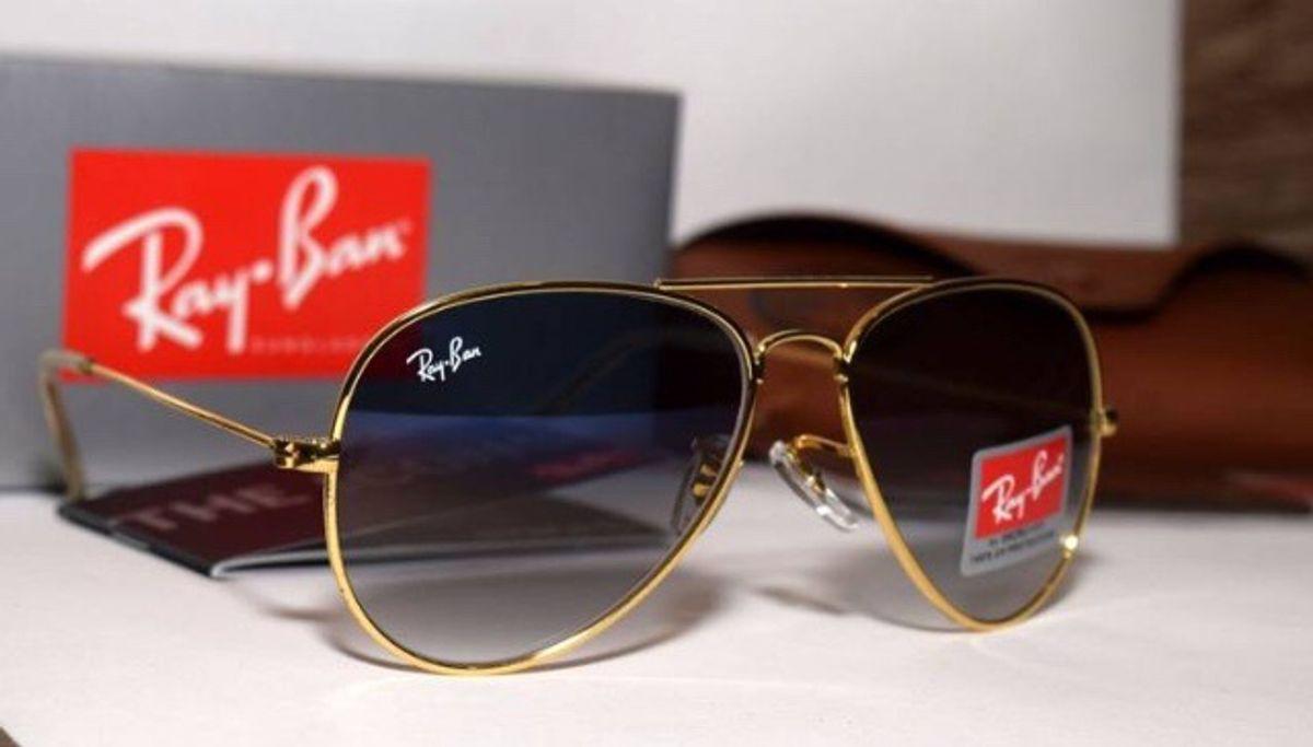 cbfa24955 Óculos Rayban Aviador Azul Degrade | Óculos Feminino Ray Ban Nunca ...
