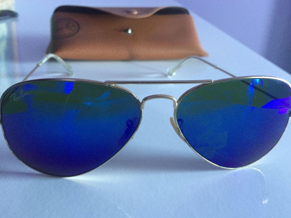Óculos Rayban Aviador Azul Espelhado   Óculos Feminino Ray Ban Usado  26135914   enjoei 8954fbfc41