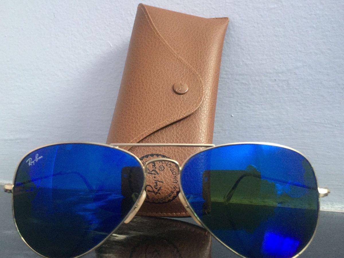 Óculos Rayban Aviador Azul Espelhado   Óculos Feminino Ray Ban Usado ... 701fa5576a