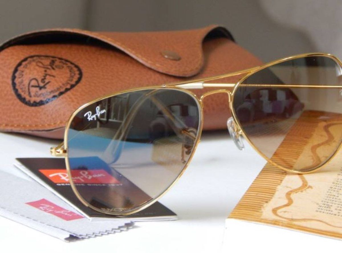 906e8dfbf Óculos Rayban Aviador Marrom Degrade | Óculos Feminino Ray Ban Nunca ...