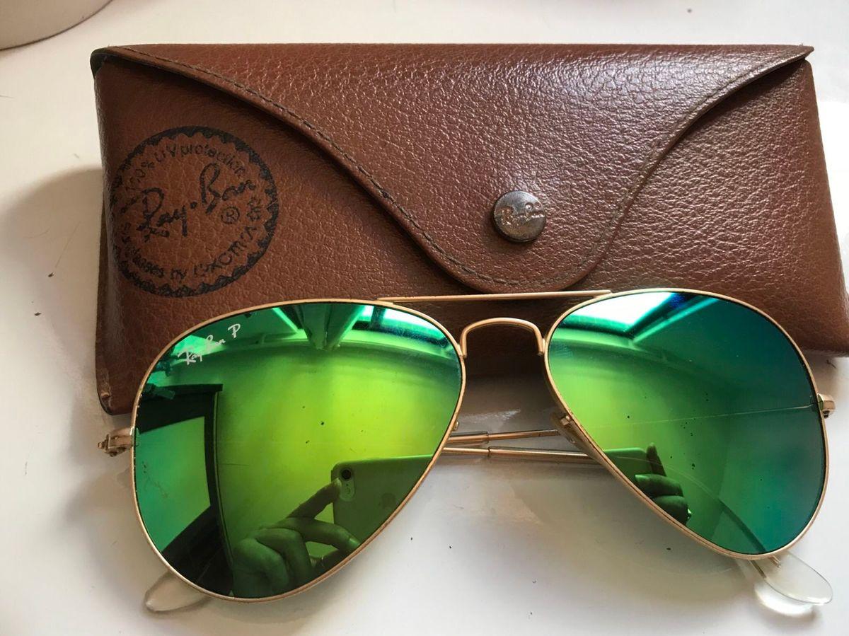 óculos rayban aviador original com lente espelhada verde - óculos ray-ban cd0862d8c4
