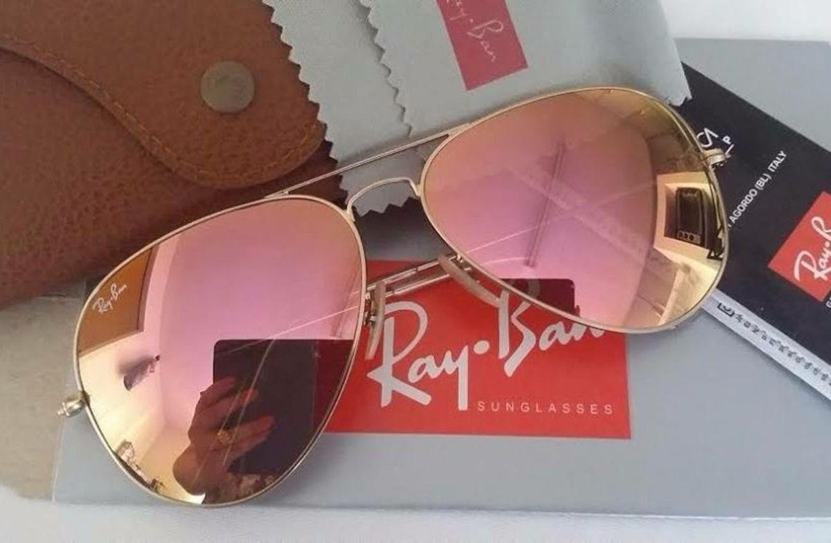 Oculos Rayban Aviador Rose Espelhado   Óculos Feminino Ray Ban Nunca ... 74e1da7d7a