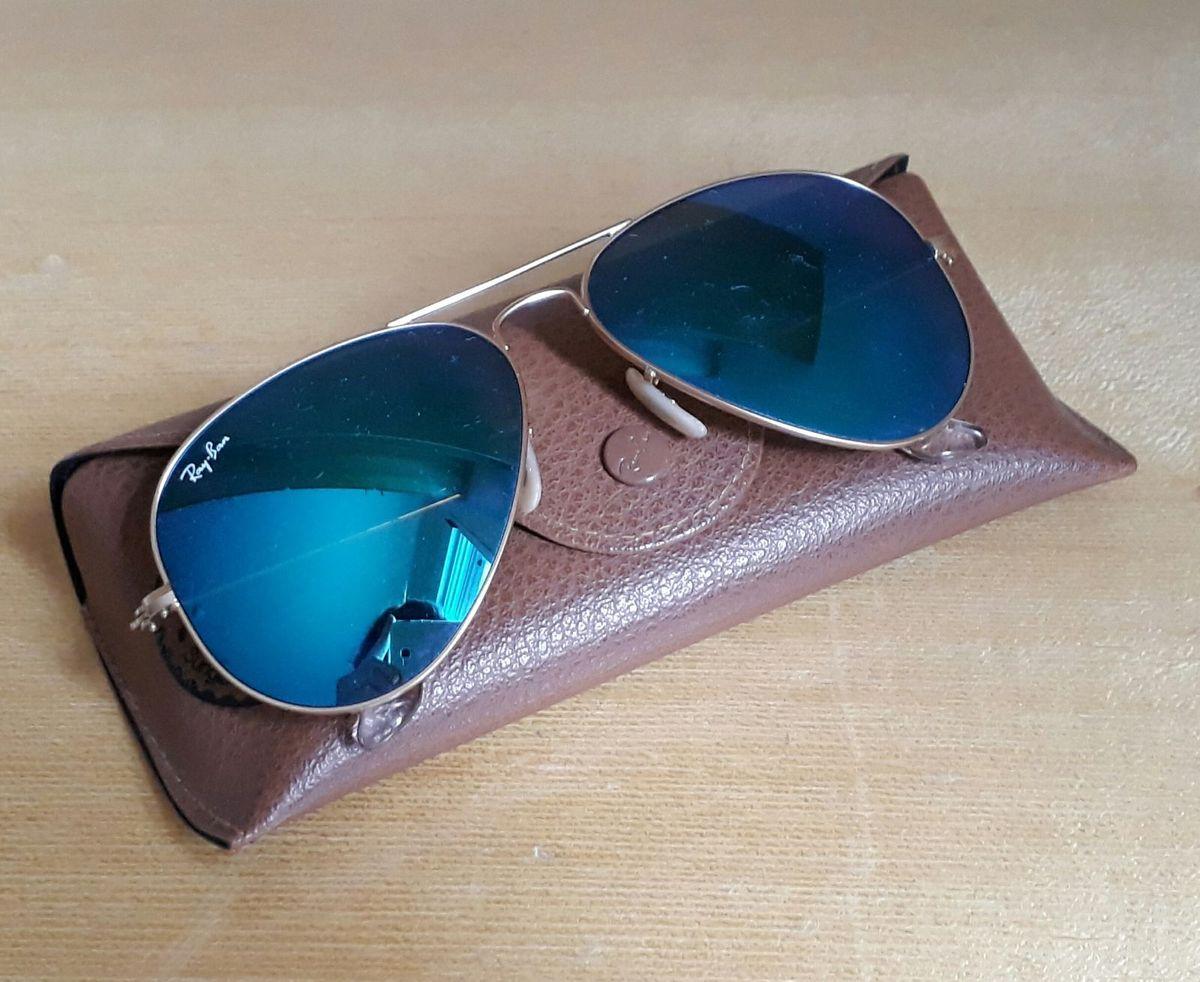 Óculos Rayban Espelhado Azul dourado   Óculos Feminino Ray Ban Usado ... 10057cc23f