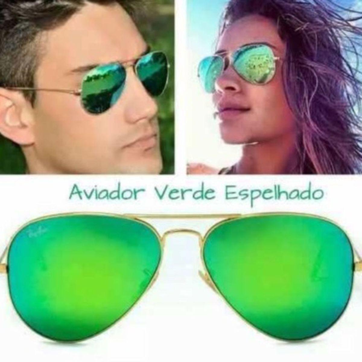 Óculos Rayban Espelhado Verde Originalm   Óculos Feminino Rayban ... 7632eac358