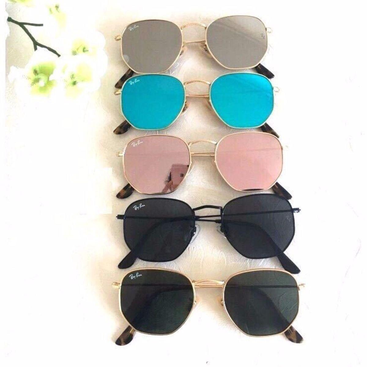 Óculos Rayban Hexagonal Cores Exclusivas   Óculos Feminino Ray Ban ... 061687dc59
