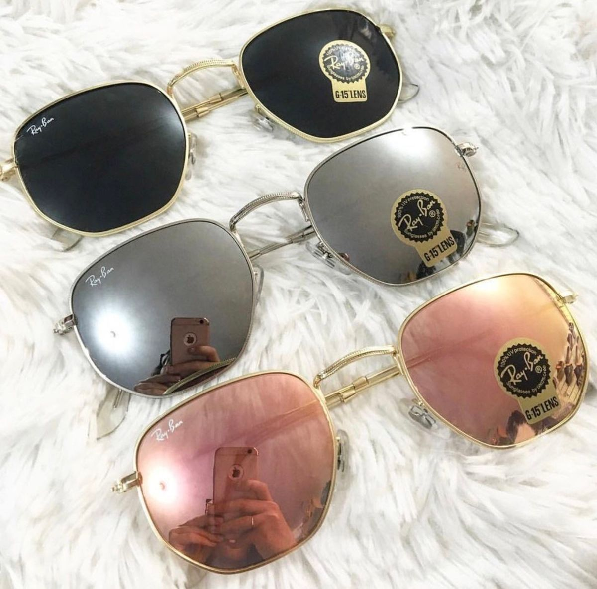 Óculos Rayban Hexagonal Espelhado   Óculos Feminino Ray Ban Nunca ... 0b2ff7cd2d