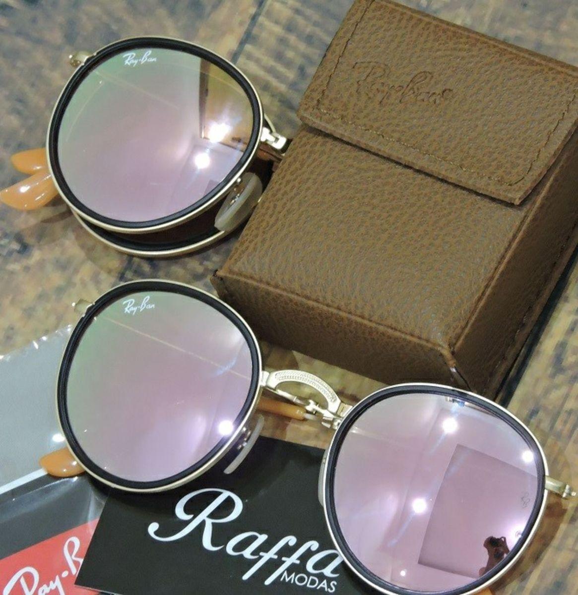 de2cf7bbb Oculos Rayban Round Dobrável Rb3517 Rosa Espelhado | Óculos Feminino ...
