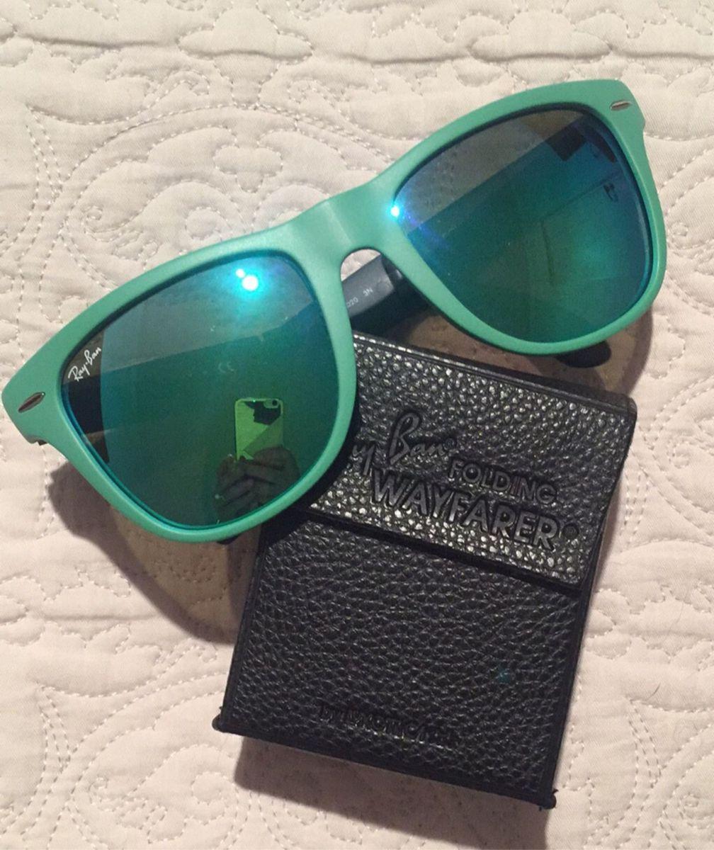 49e2634ef01d6 óculos rayban wayfarer espelhado dobrável verde água de babar!!! - óculos  rayban