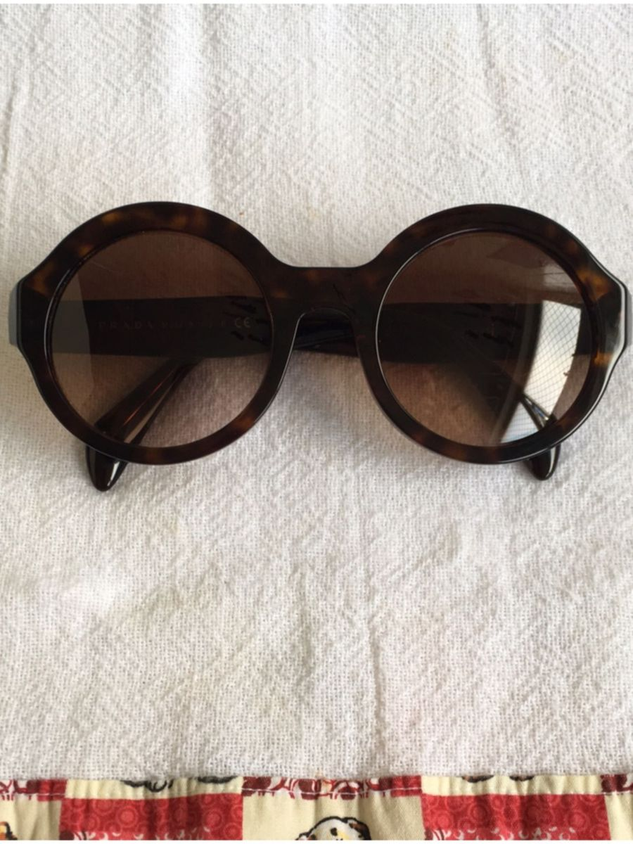 Óculos Redondo Prada Original Marrom   Óculos Feminino Prada Usado 10    enjoei