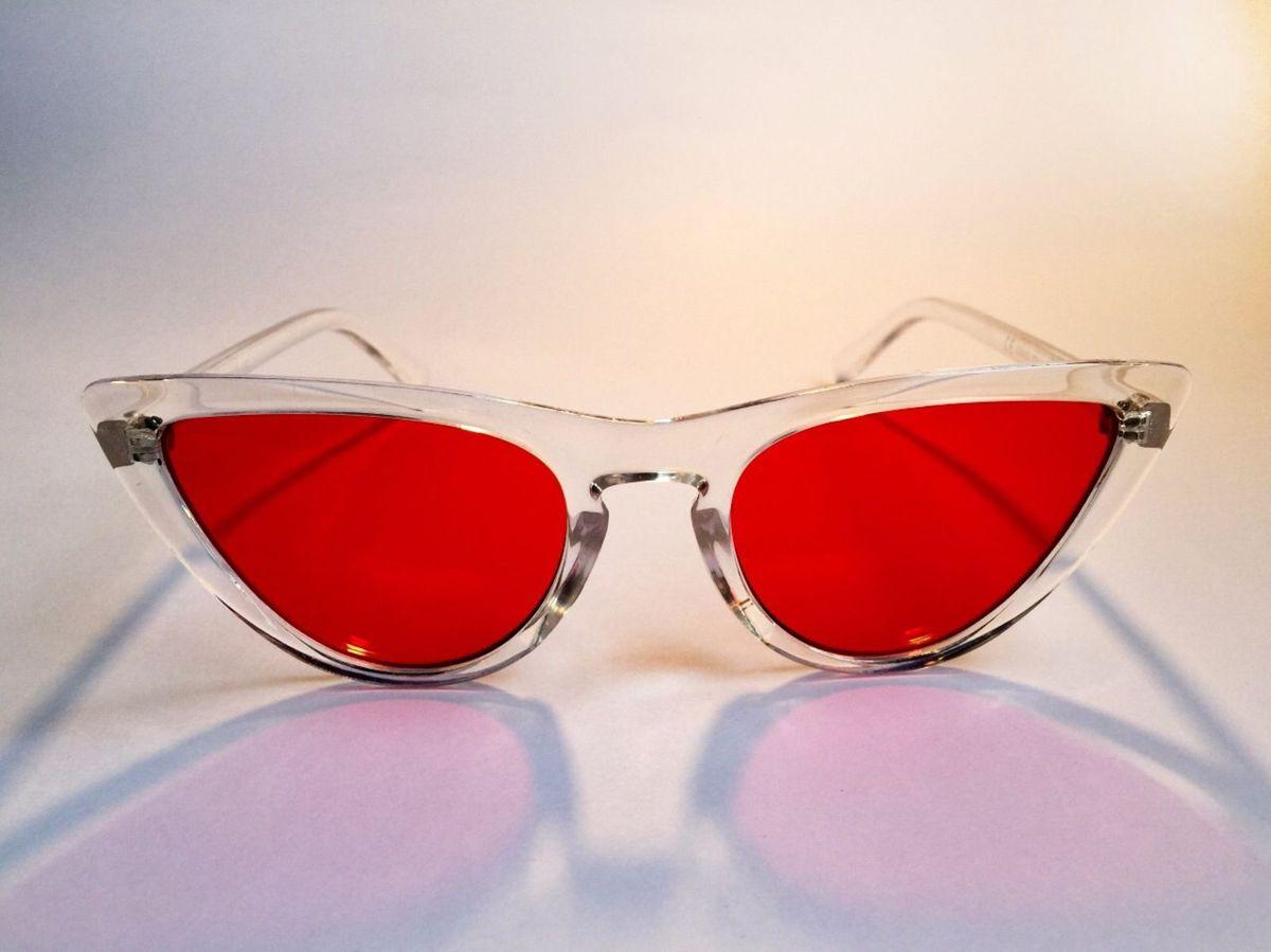 Óculos Retrô Gatinho Transparente   Óculos Feminino Rosa Sol Nunca ... 81876ae4bb