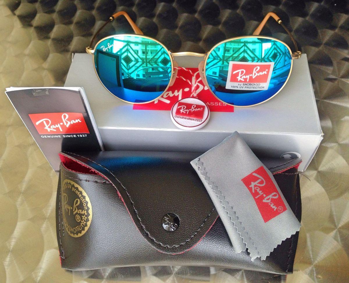 61597cbd8ee22 Óculos Round Metal Azul Espelhado   Óculos Feminino Ray Ban Nunca ...