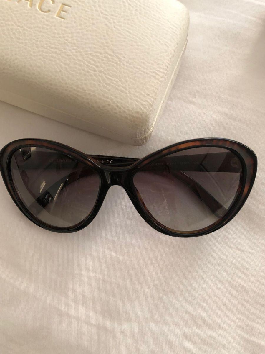 Óculos Versace Marrom Estilo Gatinho   Óculos Feminino Versace Usado ... 391dc73158