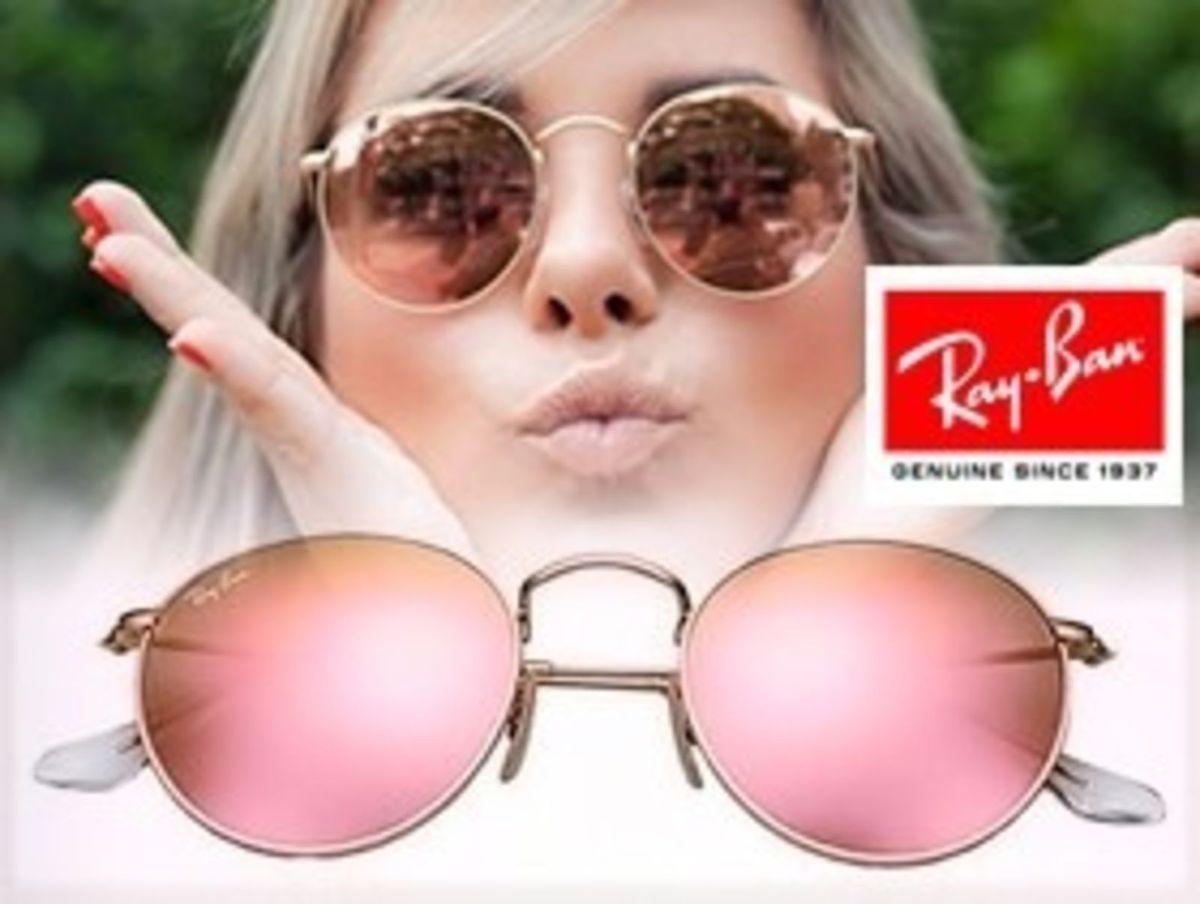ff2e2a51934f0 original ray ban redondo 3447 round rosa espelhado john lennon - óculos ray  ban