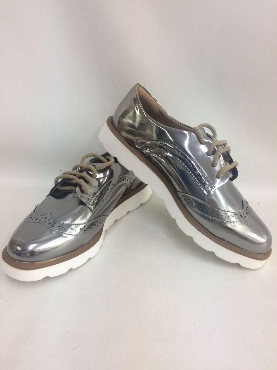 4bcc203f8 Oxford 35 Chumbo Espelhado Solado Tratorado | Sapato Feminino Mary ...