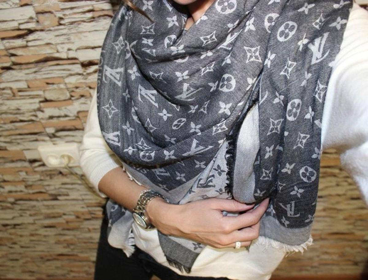 pashmina echarpe lenço scarf louis vuitton cashmere cinza - lenços louis vuitton