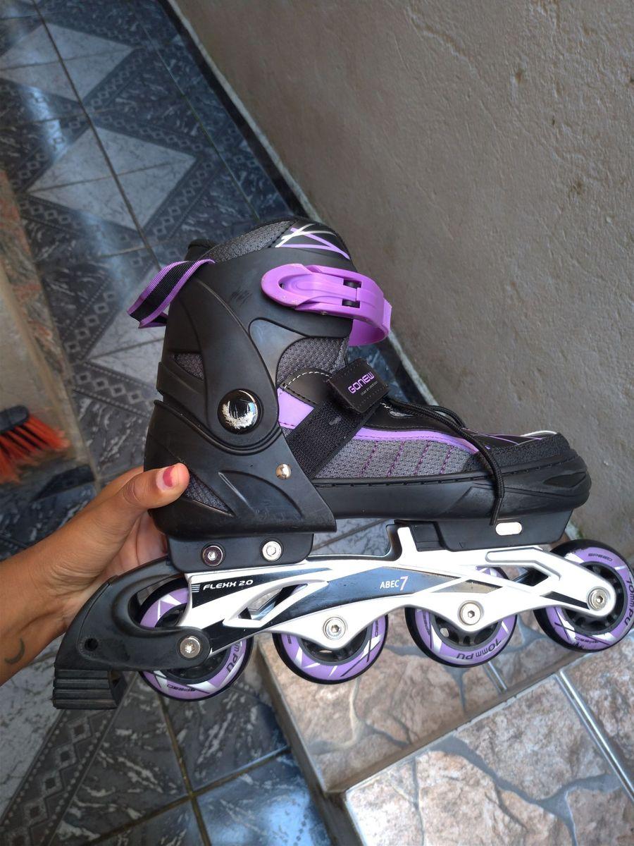 7391ee06f49 patins gonew fitness flexx 2.0 in line abec 7 ajustável base de alumínio -  esportes gonew