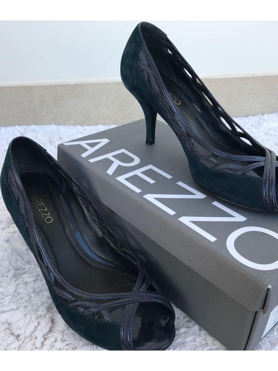 eb910fe53 Peep Toe Salto Baixo, Azul Marinho | Sapato Feminino Arezzo Usado ...