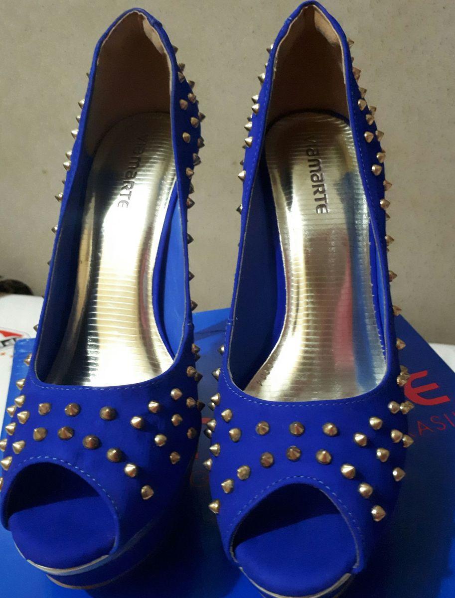 2828679cbd peep toe via marte azul dourado - sapatos via-marte
