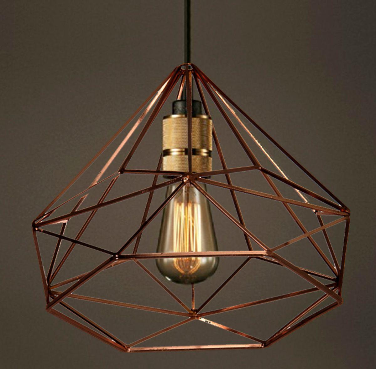 lustre diamante - pendente em cobre - iluminação dbertoli