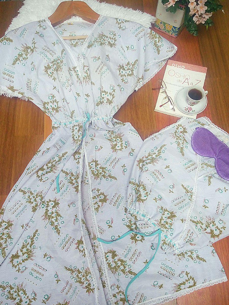 penhoar (camisola + robe) vintage completo - lingerie vintage