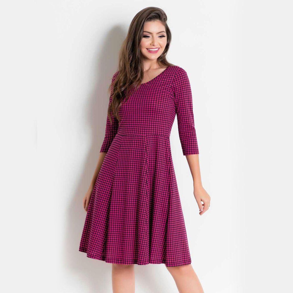 pied de poule pink - vestidos sem marca