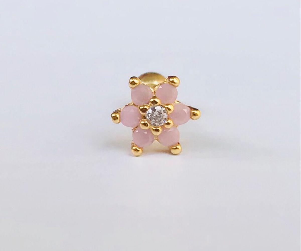 piercing flower opala rosa - jóias kedros