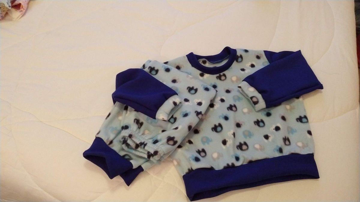 pijaminha em soft infantil azul com estampa bichinhos - menino sem marca