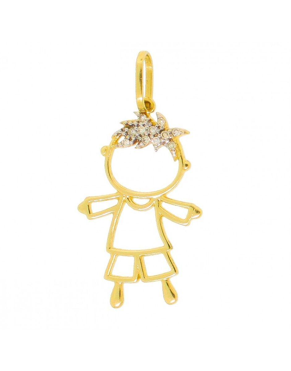 19b3b56ab9 Pingente Ouro 18k 750 Menino 11 Diamantes