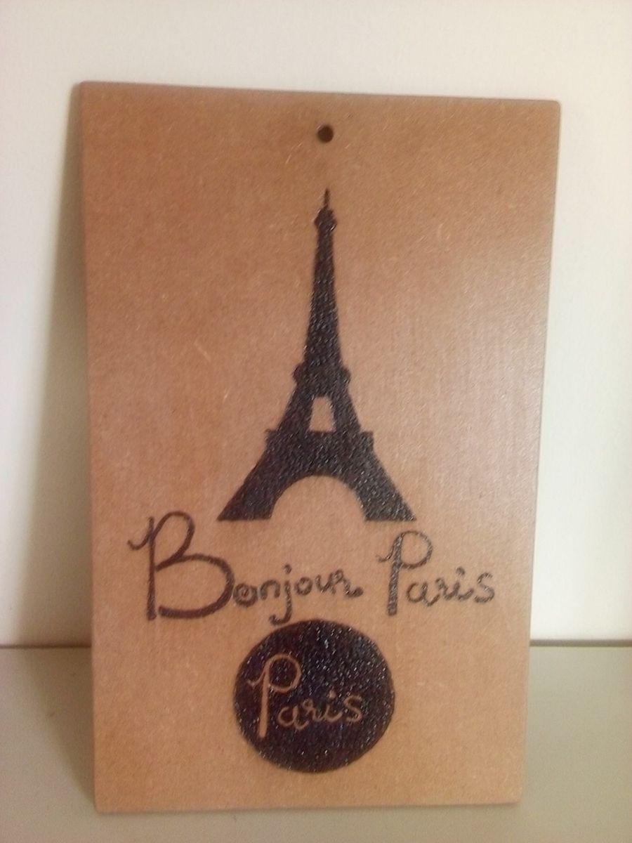 placa decorativa mdf - torre eiffel / paris / bom dia - decoração artesanal