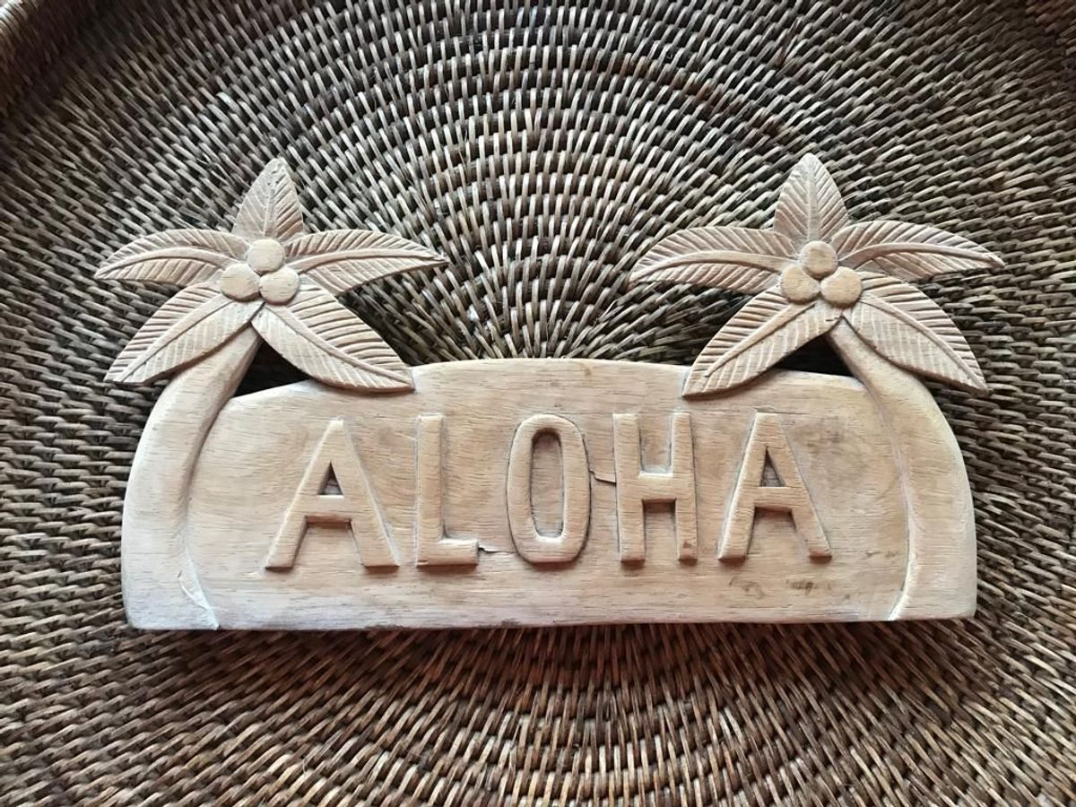 placa / quadro de madeira aloha - decoração sem marca