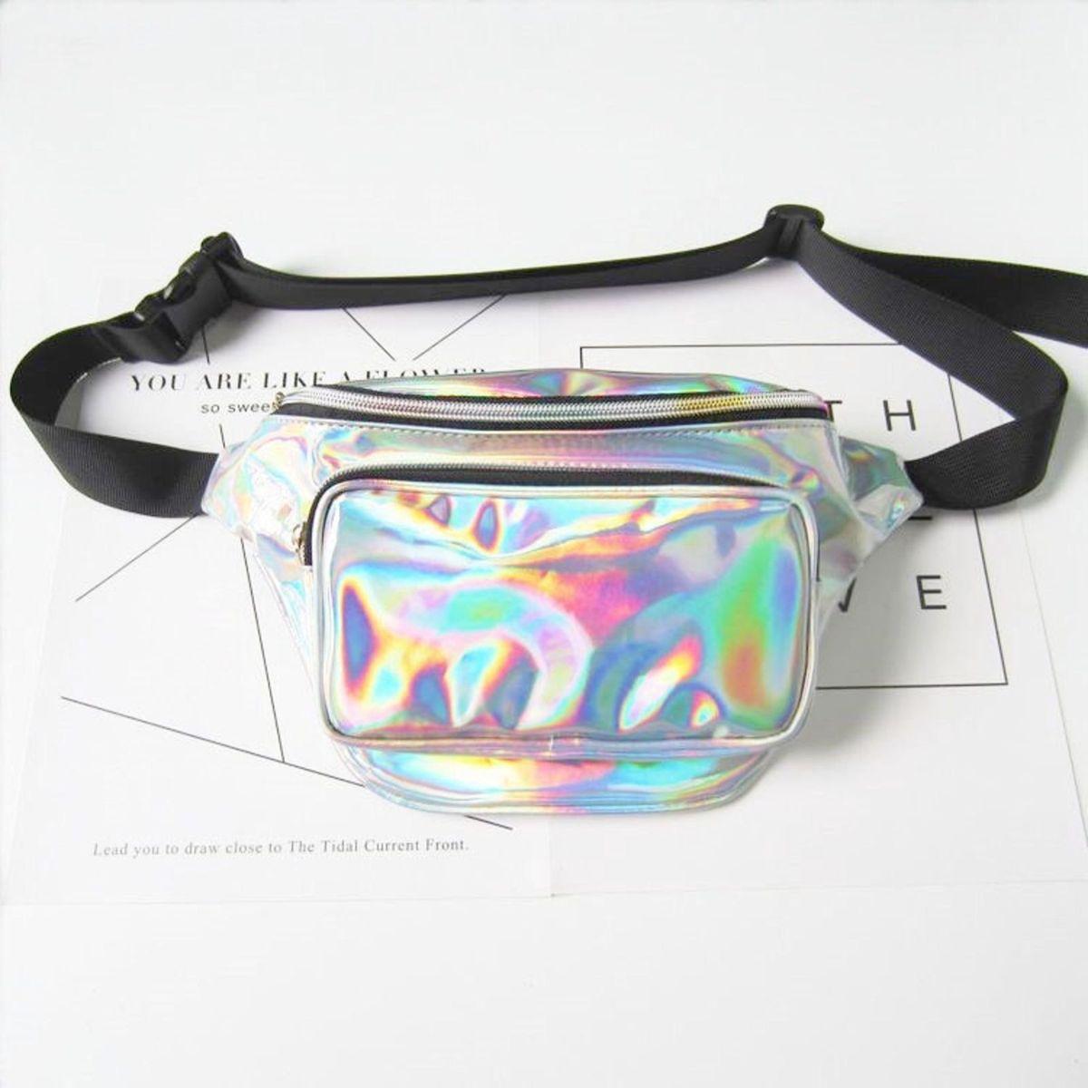 pochete vinil holográfica - ombro sem marca
