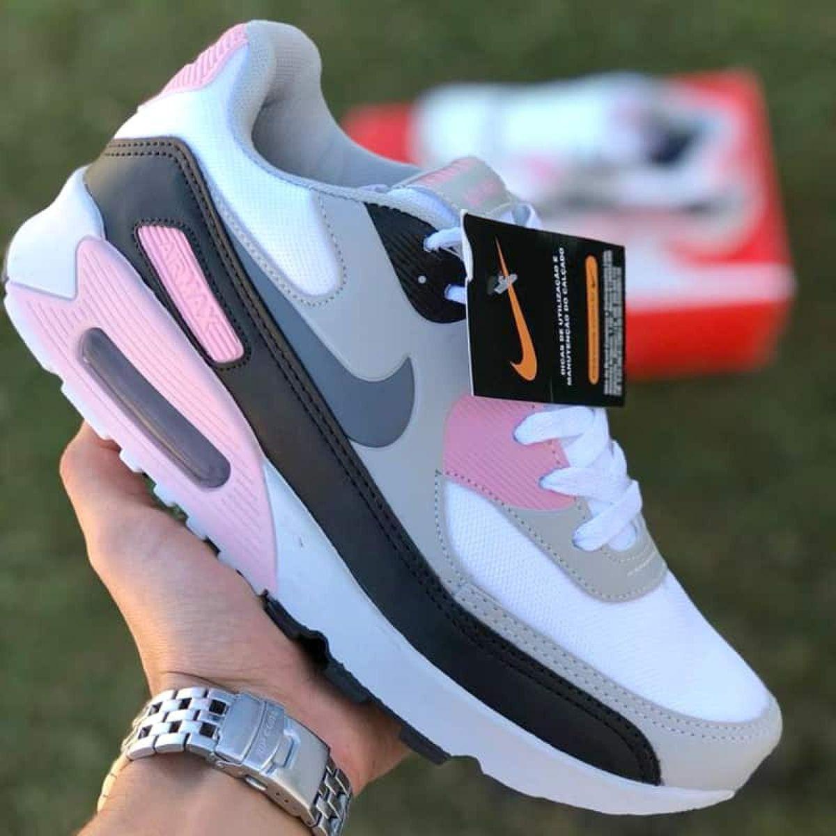 air max 90 feminino rosa e cinza