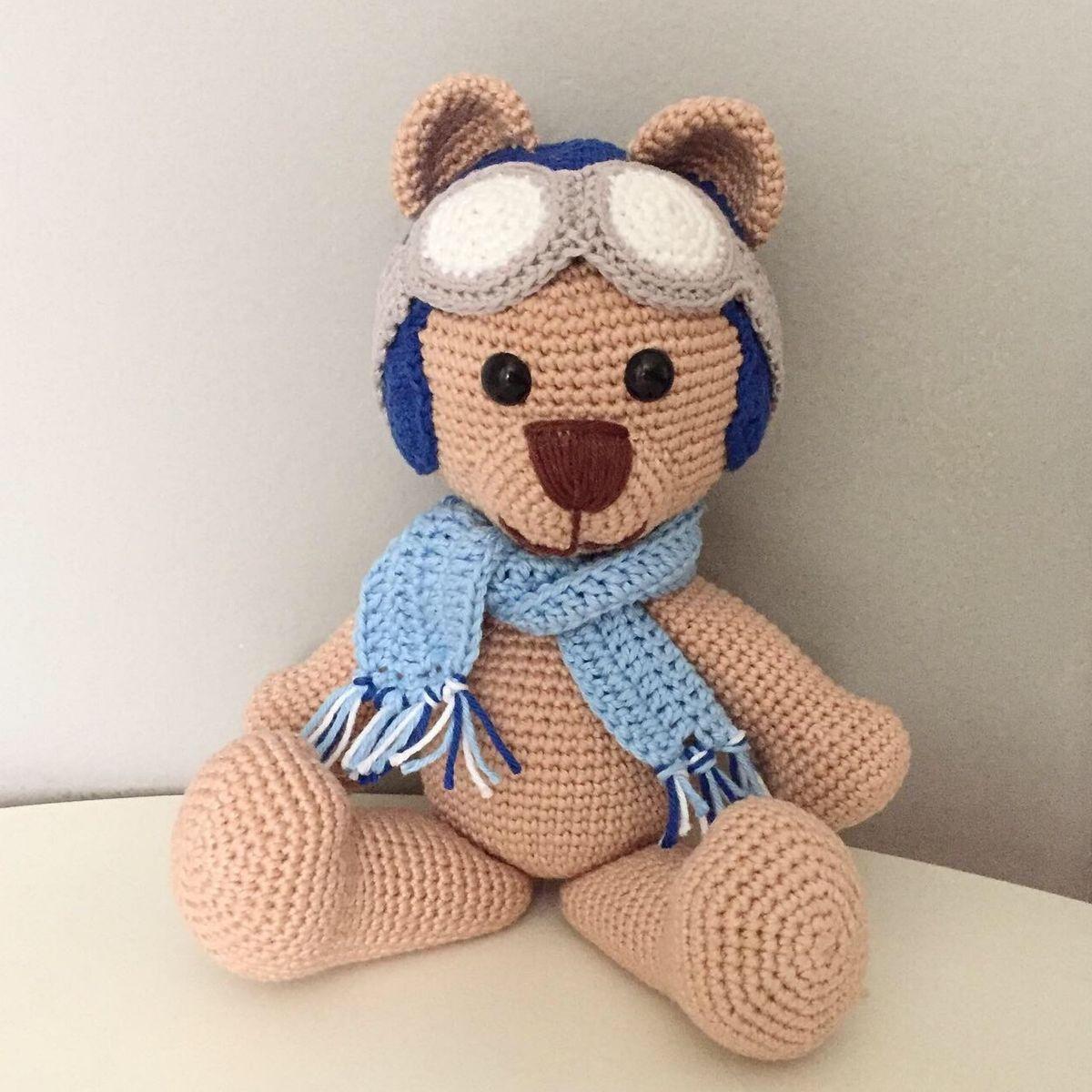 Amigurumi Urso Pardo Com Cachecol. - R$ 40,00 (com imagens) | Urso ... | 1200x1200