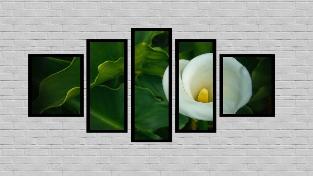 Quadro Flor Copo De Leite Folhas Verdes Molduras Pretas 5 Partes