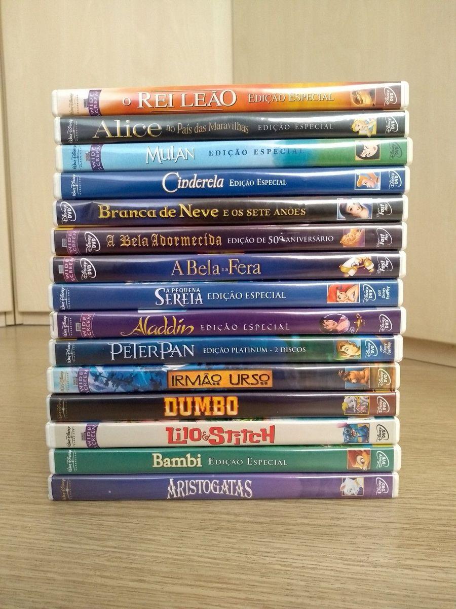 Combo Com 15 Desenhos Da Disney Em Dvd Item Infantil Disney