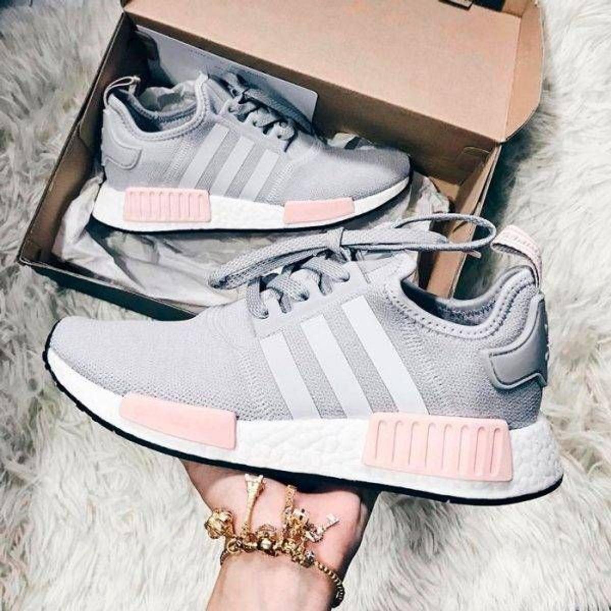 tenis adidas nmd rosa e cinza